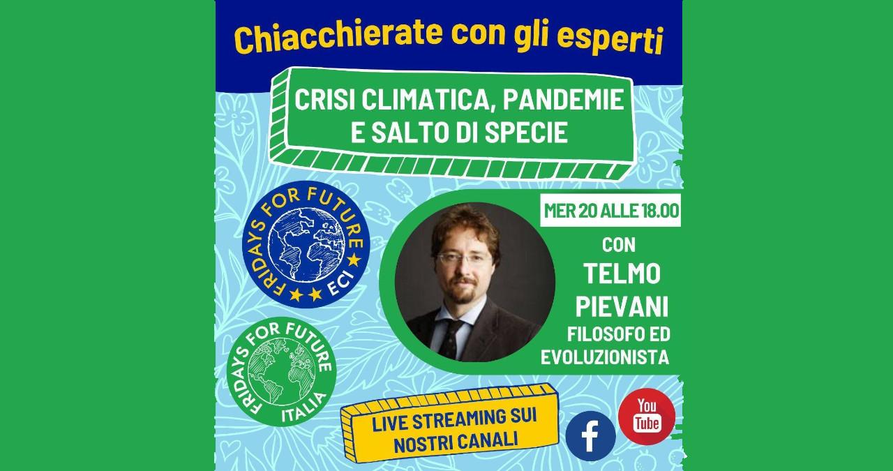 """Webinar con Telmo Pievani: """"Crisi climatica, pandemie e salto di specie"""""""